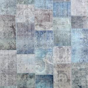 Overdyed Patchwork Blues - Designer rug