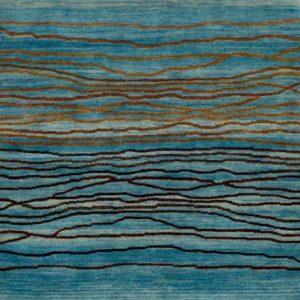 Denim Blue Broken Sunset - Designer rug