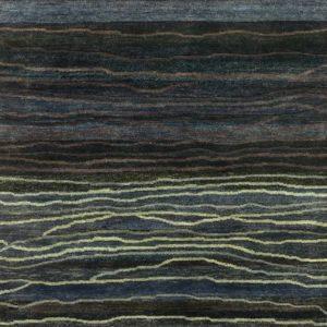 Ink Metallic Blue Broken Sunset - Designer rug