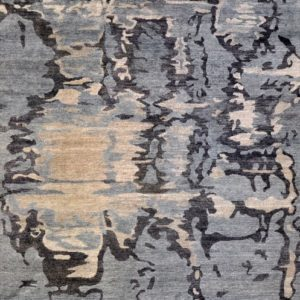 Rheum blue charcoal - Designer rug