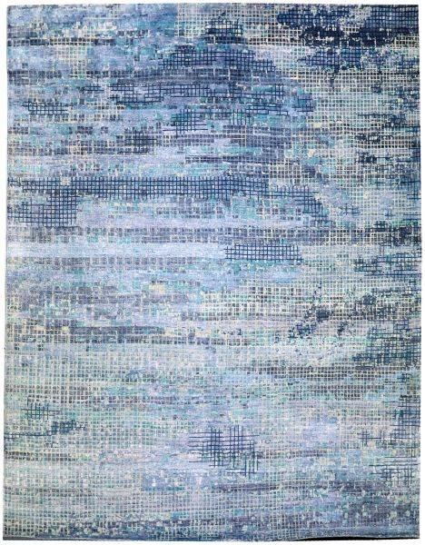 Mosaic Blue-Ivory - designer rug